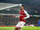 Pierre-Emerick Aubameyang celebrates scoring during the Premier League game between Arsenal and Everton on February 3, 2018