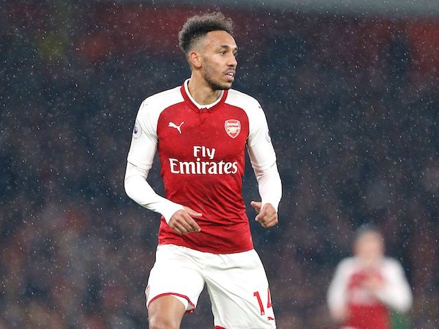 Pierre-Emerick Aubameyang in action during the Premier League game between Arsenal and Everton on February 3, 2018
