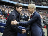 Arsene Wenger and Mauricio Pochettino shake hands during the Premier League game between Tottenham Hotspur and Arsenal on February 10, 2018