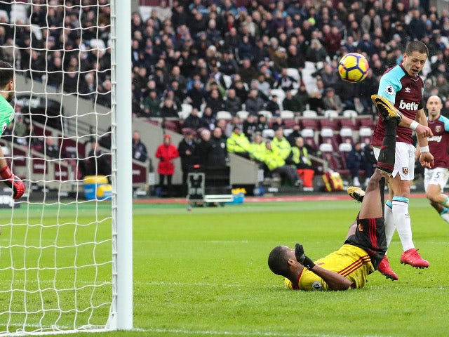 Javier Hernandez of West Ham United scores their first goal against Watford on February 10, 2018