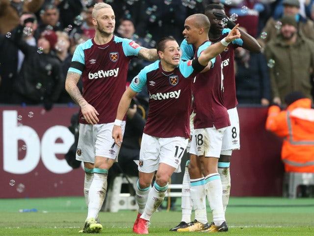 Javier Hernandez of West Ham United celebrates scoring their first goal against Watford on February 10, 2018