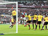 Javier Hernandez heads in for West Ham United against Watford but the goal is disallowed on February 10, 2018