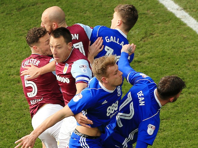 John Terry among a group of players during the Championship game between Aston Villa and Birmingham City on February 11, 2018