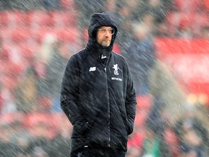 A hail-swept Jurgen Klopp during the Premier League game between Southampton and Liverpool on February 11, 2018