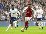 Pierre-Emerick Aubameyang in action during the Premier League game between Tottenham Hotspur and Arsenal on February 10, 2018