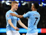 Raheem Sterling celebrates with Kevin De Bruyne during the Premier League game between Manchester City and Leicester City on February 10, 2018