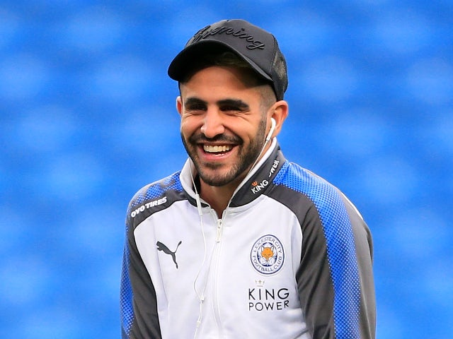 Riyad Mahrez ahead of the Premier League match between Manchester City and Leicester City on February 10, 2018