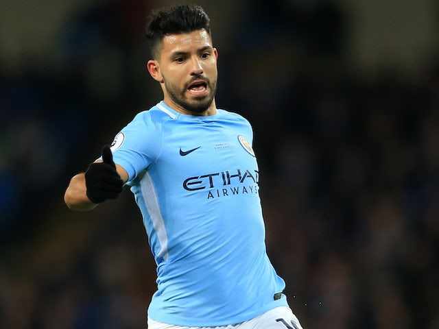 Sergio Aguero in action during the Premier League game between Manchester  City and Leicester City on 47f9990eda4