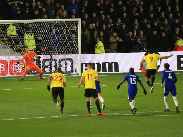 Troy Deeney of Watford scores a goal from the penalty spot against Chelsea on February 5, 2018