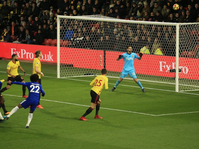 Willian of Chelsea shoots over the crossbar in the Premier League game against Watford on February 5, 2018