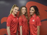 Team England's rhythmic gymnasts Mimi Cesar, Stephani Sherlock and Hannah Martin competing at the 2018 Commonwealth Games on the Gold Coast
