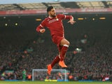 Emre Can of Liverpool celebrates after scoring their first goal against West Ham United on February 24, 2018