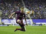 Kevin De Bruyne in action during the FA Cup game between Wigan Athletic and Manchester City on February 19, 2018