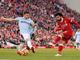 Mohamed Salah of Liverpool scores their second goal against West Ham United on February 24, 2018