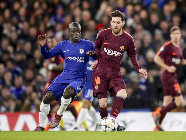 N'Golo Kante comes up against Lionel Messi during the Champions League group game between Chelsea and Barcelona on February 20, 2018