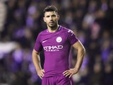 Sergio Aguero in action during the FA Cup game between Wigan Athletic and Manchester City on February 19, 2018