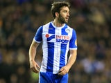 Will Grigg in action during the FA Cup game between Wigan Athletic and Manchester City on February 19, 2018
