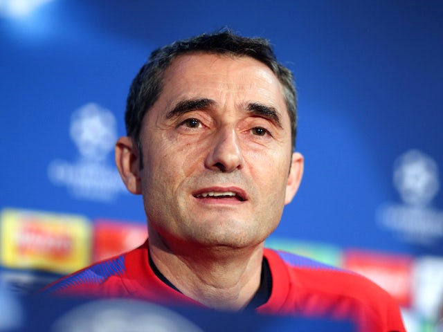 Ernesto Valverde at a Barcelona press conference on February 19, 2018