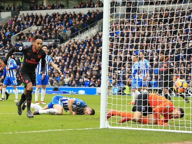Pierre-Emerick Aubameyang pulls one back during the Premier League game between Brighton & Hove Albion and Arsenal on March 4, 2018