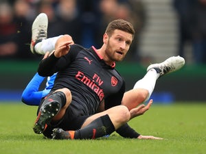 Big Shkodran Mustafi in action during the Premier League game between Brighton & Hove Albion and Arsenal on March 4, 2018