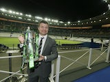 Ireland legend Brian O'Driscoll holds the Six Nations trophy