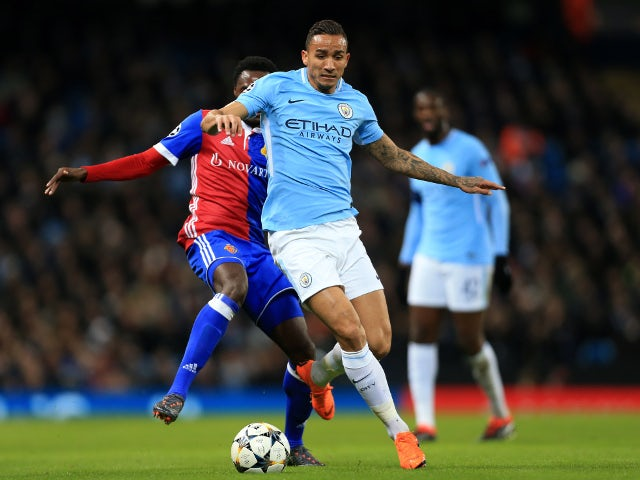 Danilo of Manchester City battles with Dimitri Oberlin of Basel in the Champions League on March 7, 2018