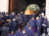 The coffin of Fiorentina skipper Davide Astori is carried at his funeral on March 8, 2018