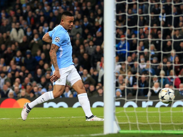 Gabriel Jesus scores for Manchester City against Basel in the Champions League on March 7, 2018