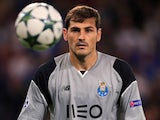 Iker Casillas and a ball in action for Porto in the Champions League in September 2016
