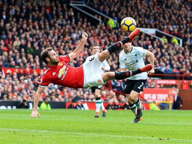 Juan Mata in action during the Premier League game between Manchester United and Liverpool on March 10, 2018