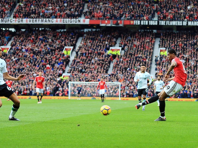 Marcus Rashford scores the second during the Premier League game between Manchester United and Liverpool on March 10, 2018