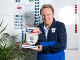 Cardiff City manager Neil Warnock poses with his Championship manager of the month award for February 2018