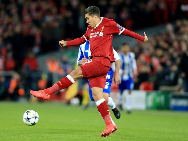 Roberto Firmino in action during the Champions League round-of-16 game between Liverpool and Porto on March 6, 2018