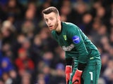 Angus Gunn in action for Norwich City in January 2018