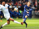 Christian Eriksen scores the opener during the FA Cup quarter-final between Swansea City and Tottenham Hotspur on March 17, 2018