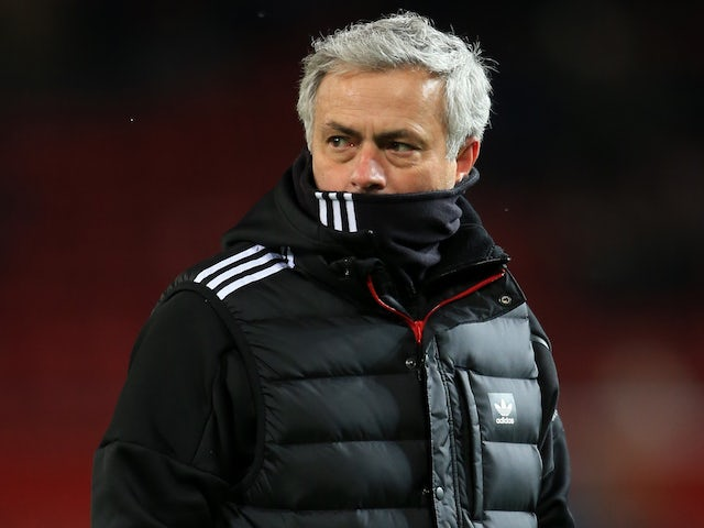 Jose Mourinho watches on during the FA Cup quarter-final between Manchester United and Brighton & Hove Albion on March 17, 2018