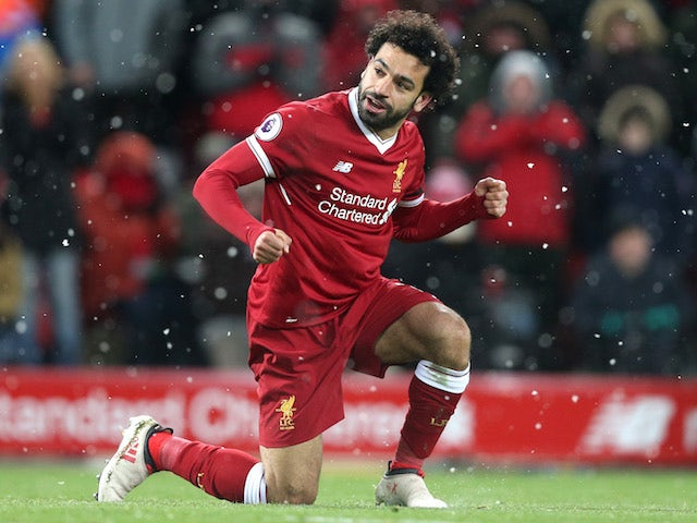 Mohamed Salah celebrates during the Premier League game between Liverpool and Watford on March 17, 2018