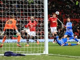 Manchester United midfielder Nemanja Matic scores his side's second goal during their FA Cup quarter-final victory over Brighton & Hove Albion