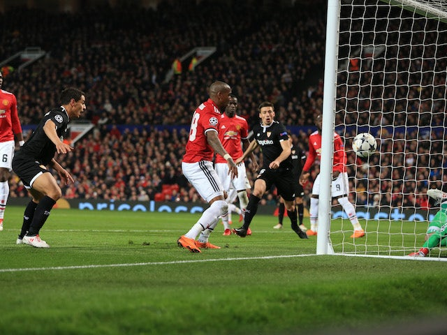 Wissam Ben Yedder scores his second during the Champions League round-of-16 game between Manchester United and Sevilla on March 13, 2018