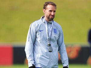A dishevelled Gareth Southgate during an England training session on March 20, 2018