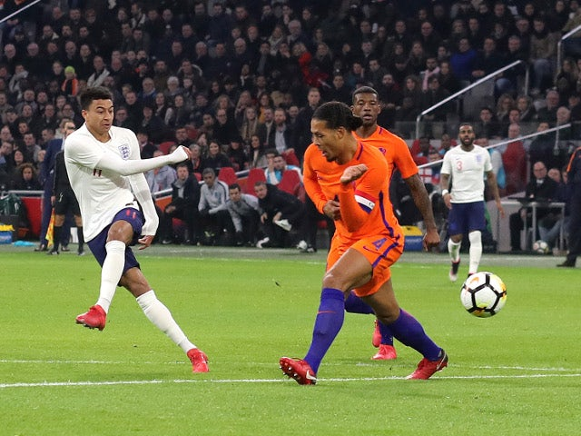 Jesse Lingard shoots during the international friendly between Netherlands and England on March 23, 2018