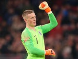 Jordan Pickford in action for England against the Netherlands on March 23, 2018