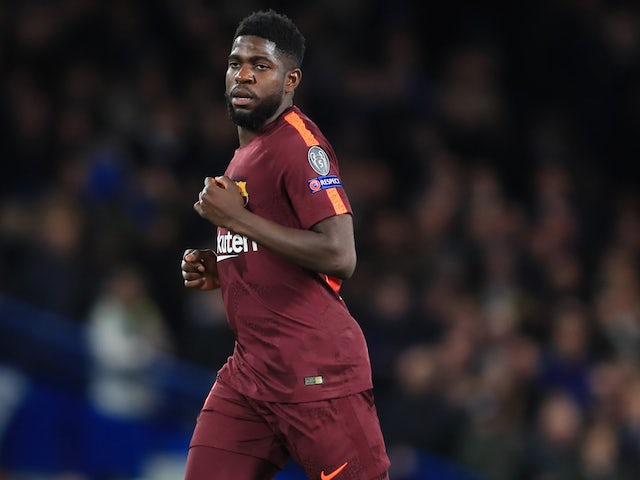 Samuel Umtiti in action for Barcelona on February 20, 2018