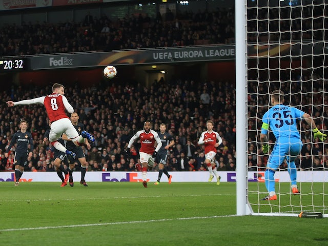 Aaron Ramsey scores the third during the Europa League quarter-final game between Arsenal and CSKA Moscow on April 5, 2018