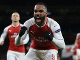 Alexandre Lacazette celebrates scoring the Gunners' second during the Europa League quarter-final game between Arsenal and CSKA Moscow on April 5, 2018