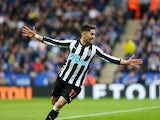 Newcastle United's Ayoze Perez celebrates scoring against Leicester City on April 7, 2018