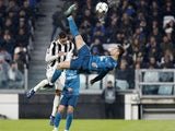 Cristiano Ronaldo scores an overhead goal during Real Madrid's 3-0 win at Juventus in the Champions League on April 3, 2018