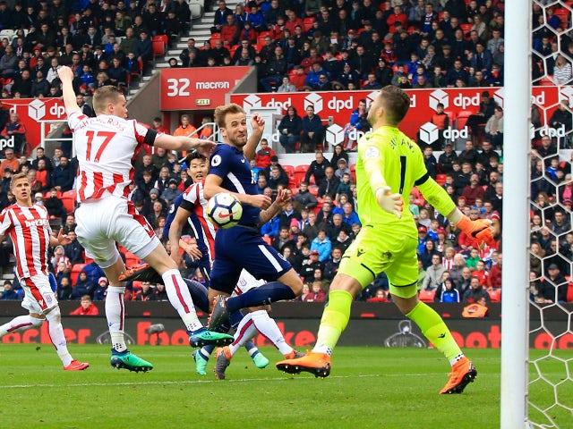Harry Kane scores for Tottenham Hotspur against Stoke City on April 7, 2018