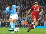 Manchester City's Gabriel Jesus scores during the Champions League quarter-final second leg against Liverpool on April 10, 2018