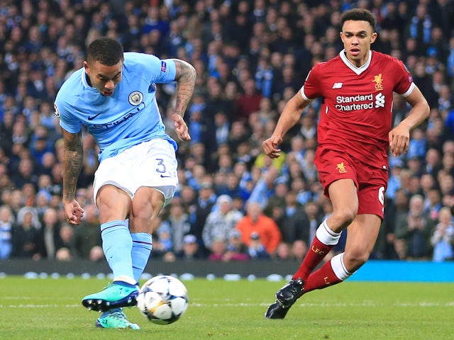 Manchester City's Gabriel Jesus scores during the Champions League quarter-final second leg against Liverpool on April 10, 2018